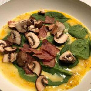 spinach mushroom bacon chicken omelet